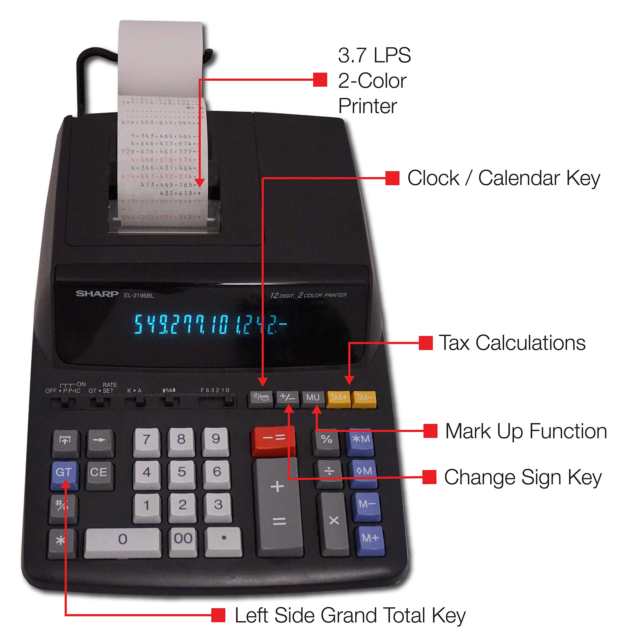 Sharp EL-2196BL 12 Digit Printing Calculator by Sharp