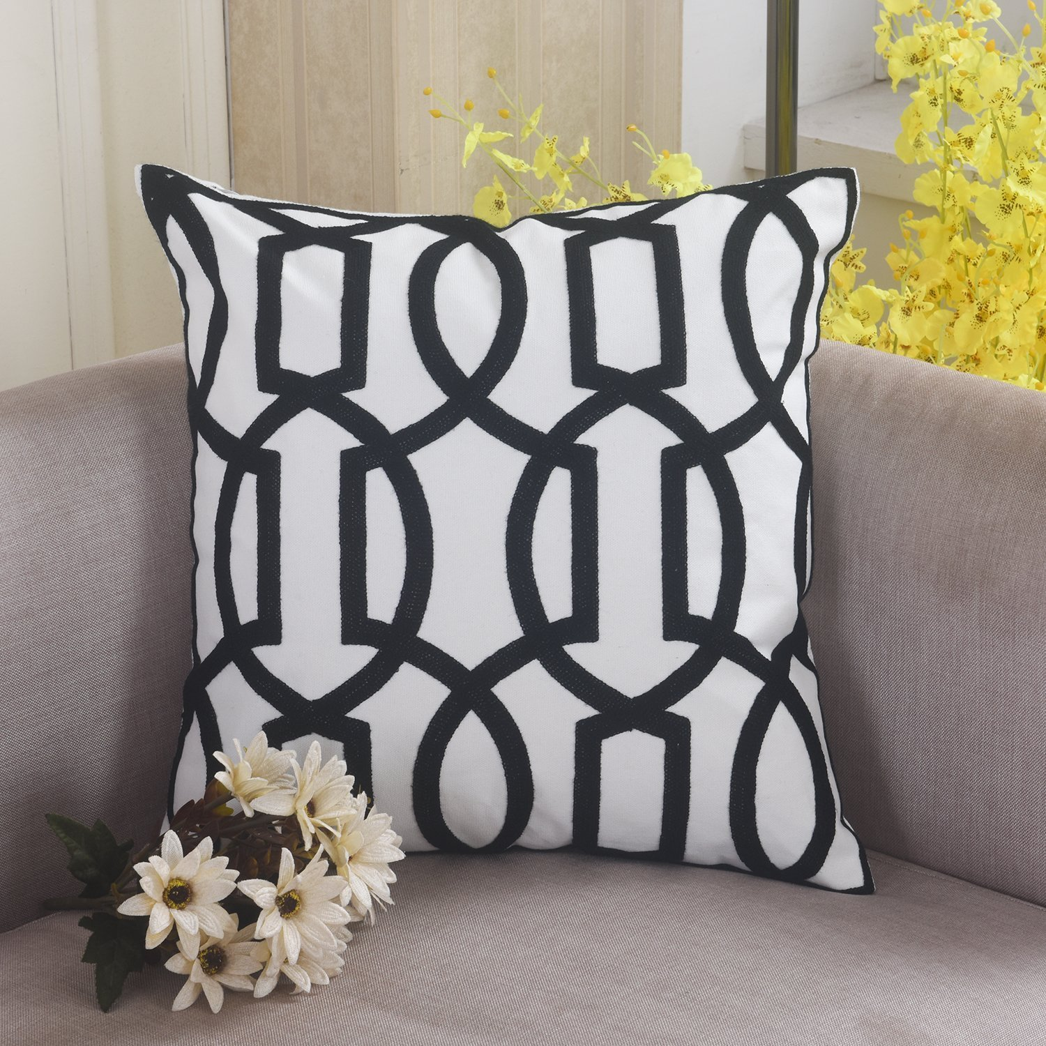 Home Brilliant Decorative Throw Pillow Lattice Wave Pattern Embroidered Patio Cushion Cover, 18x18, Black HBXHCCP03C04