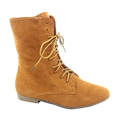 Staci-01 Women's Fashion Low Flat Heel Lace Up Round Toe Boot Shoes