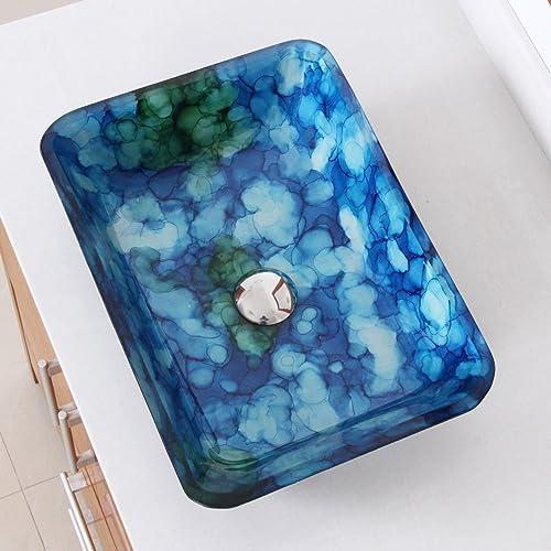 ELITE Rectangle Cloud Style Art Tempered Glass Bathroom Vessel Sink 1406