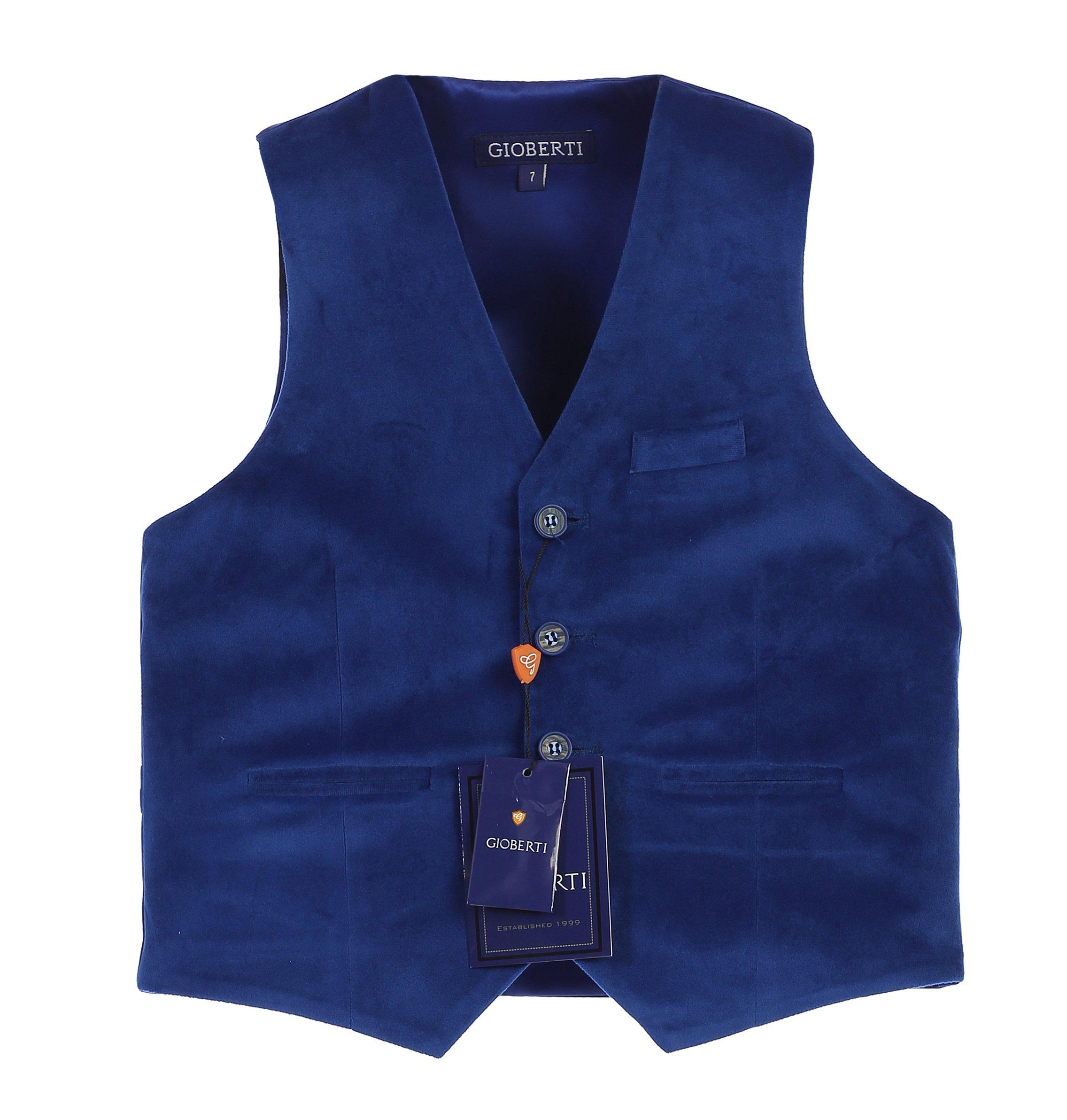 Gioberti Big Boys Velvet Formal Suit Vest, Royal Blue, Size 8