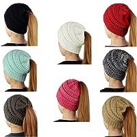 SEALEN Women Beanie Tail,Soft Stretch Trendy Winter Messy High Bun Ponytail Hat