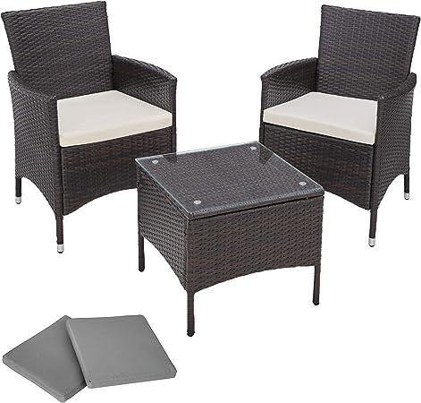 TecTake Salon de jardin Table de jardin en aluminium et poly rotin resine  tressee chaises salon d\'exterieur + deux set de housses, vis en acier ...