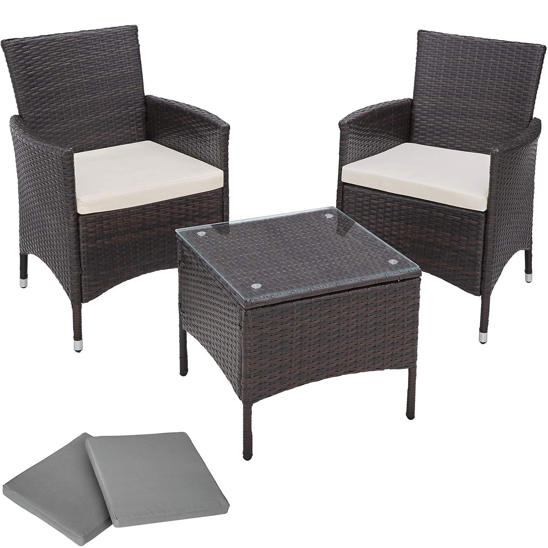 TecTake Conjunto muebles de Jardín en Aluminio y Poly Ratan + 2 Set de fundas intercambiables - disponible en diferentes colores - (Negro)