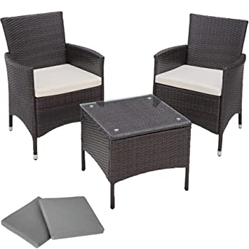 Tectake Aluminium Poly Rattan Garden Furniture Wicker Set With Glass Table 2 Sets For Exchanging The Upholstery Stainless Steel Screws Black Brown