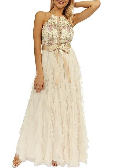 Amazon.com: Teeze Me Juniors Halter Floral Embroidered Illusion Top Corkscrew Long Dress: Clothing