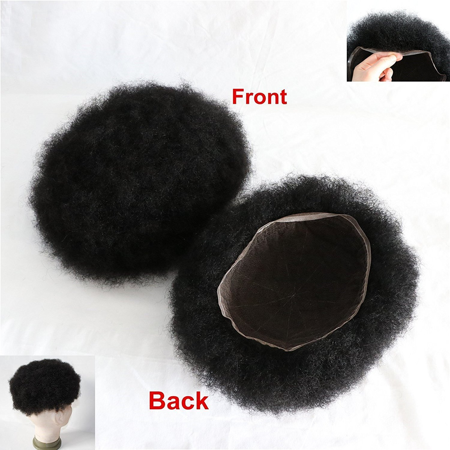 Lumeng Men's Toupee for Black Men Afro Toupee African American Wigs 8x10inch African Curly Afro Mens Llace Front Wig man weave #1 Jet Black Invisible Lace System 120% Density 100% Human Hair
