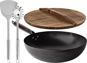 """Homeries Carbon Steel Wok with 2 Spatulas & Wooden Lid for Electric, Induction & Gas Stoves – Heavy Duty Stir Fry Pan - Pre-Seasoned Chinese Wok with Flat Bottom (12"""" Diameter)"""