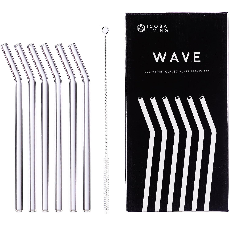 Waveプレミアム曲線状ガラスストローギフトセット – 6パック、9