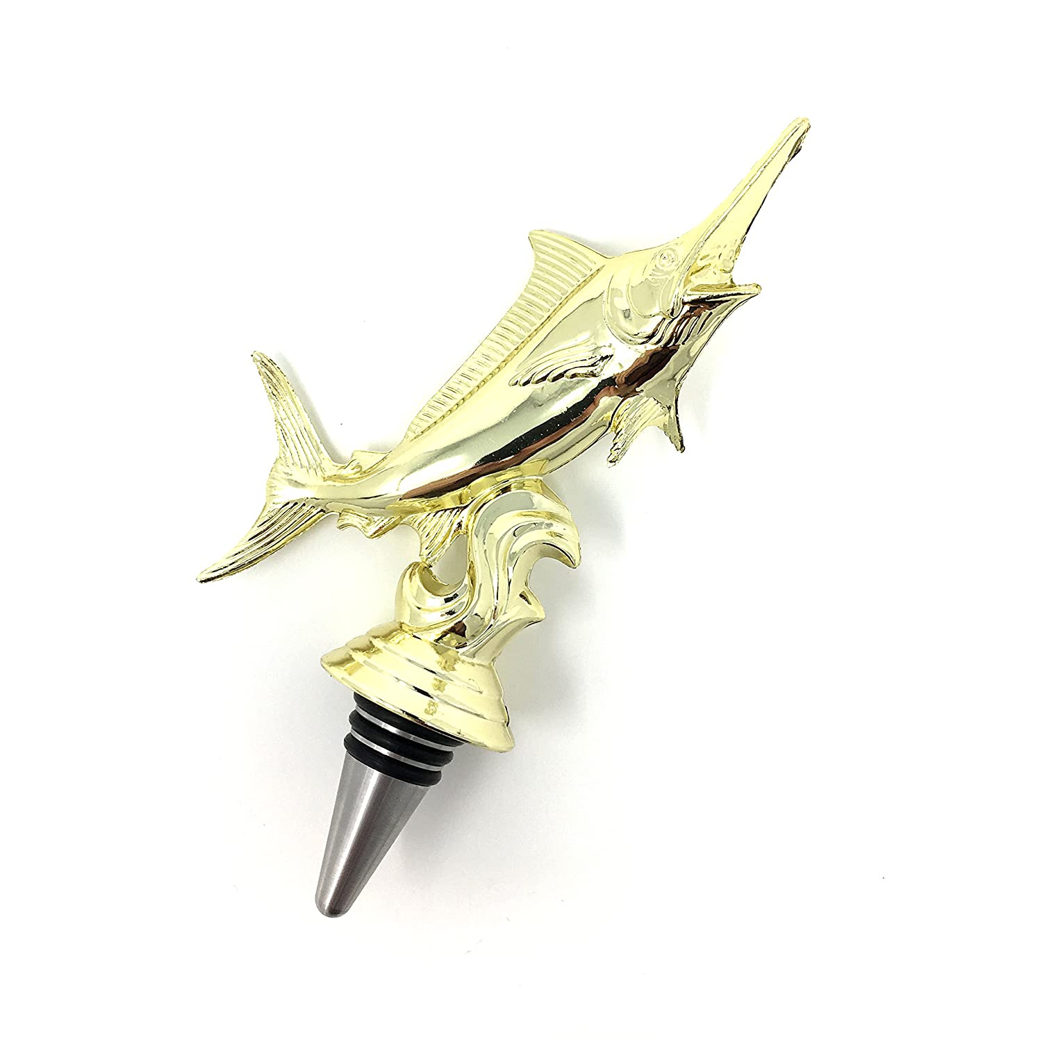 Marlin Wine Bottle Stopper - Handmade with Stainless Steel Base and Repurposed Trophy Top