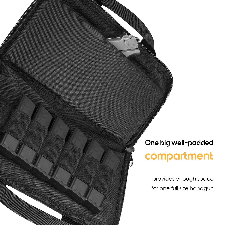ProCase Tactical Pistol Case, Soft Shooting Gun Range Bag Handgun Magazine Pouch Duffle Bag for Hunting or Shooting Range Sport- Black by ProCase (Image #3)