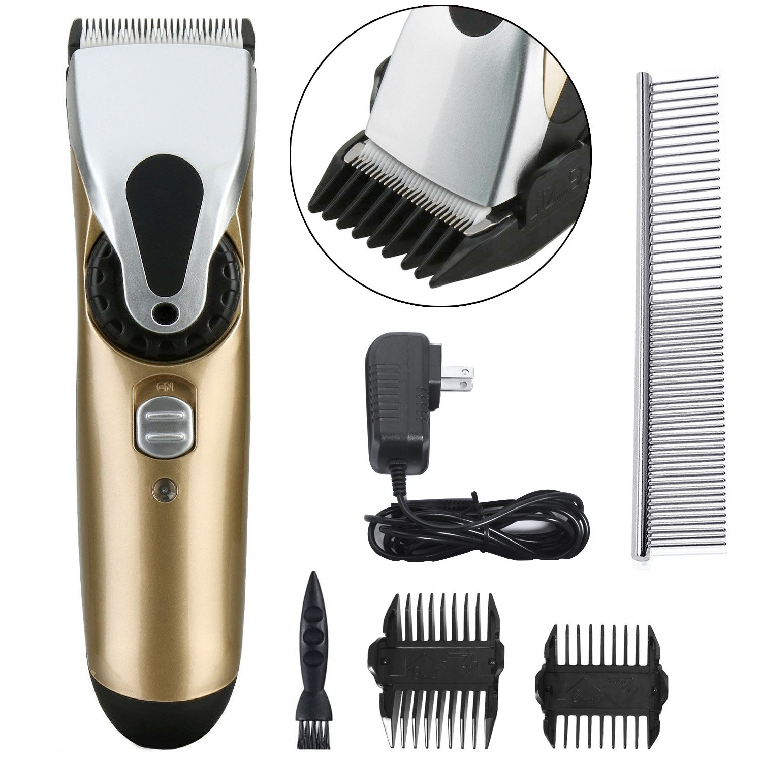 FlyCreat Dogs Grooming Clippers, Professional Electric Low Noise Rechargeable Cordless Dogs and Cats Hair Clippers Grooming Set for Large, Medium, Small Pets FlyJeat