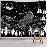 Hexagram Mountain Moon Tapestry Wall Hanging Black and White Forest Wall Tapestry for Room Dorm Decor