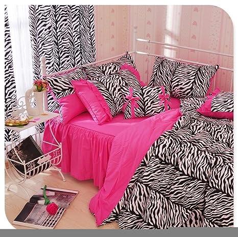 501fec9ab2 Bobbycool Twin Leopard Peach Puff set copripiumino stampa nero marca lenzuola  per ragazze Wild Queen King