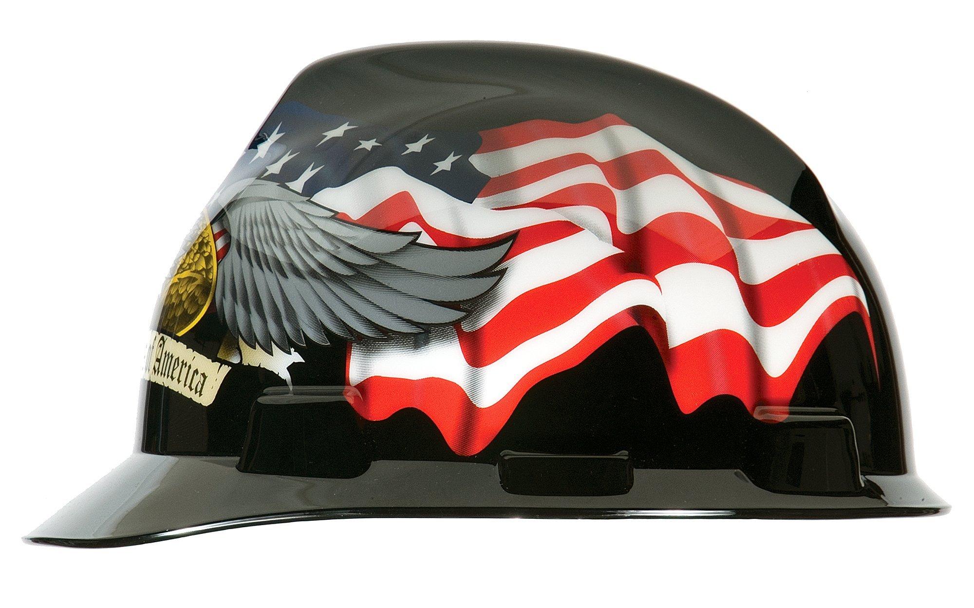 MSA 10079479 V-Gard Hard Hat Front Brim with Ratchet Suspension, Standard, American Eagle by MSA (Image #5)