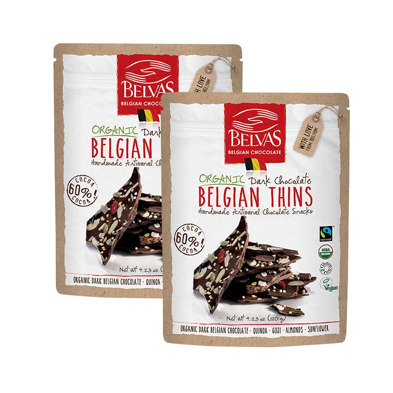 Belvas Belgian Thins Organic Dark Chocolate with Quinoa and Goji, 4.23 oz - 2Pk by Belvas