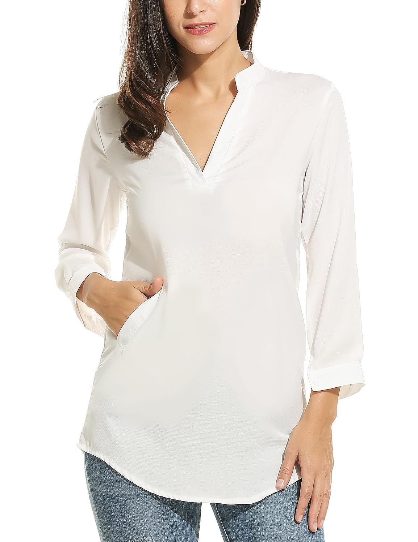 Meaneor Women V Neck Chiffon Cuff Long Sleeve Shirt Dress Loose Short Casual Top #MAH007634