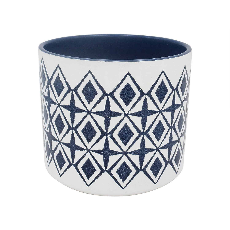 Rivet Mid-Century Diamond-Patterned Stoneware Planter, 7.67 H, Blue and White