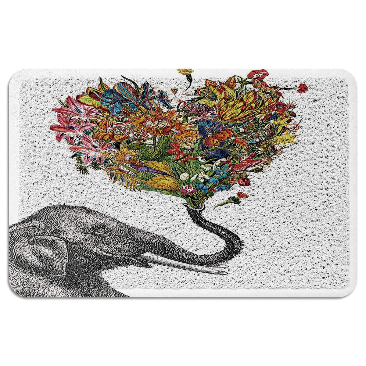 MUSEDAY Indoor/Outdoor Doormat,Elephant Painting Durable Heavy Duty Shoes Scraper Mat, Vintage Elephant with Aztec Floral Easy Clean Rug for Pet Bowl(24''x35'',W x L)