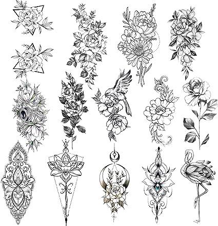 Konsait Tatuajes Temporales para Adultos Mujeres Niños, 14 grande ...