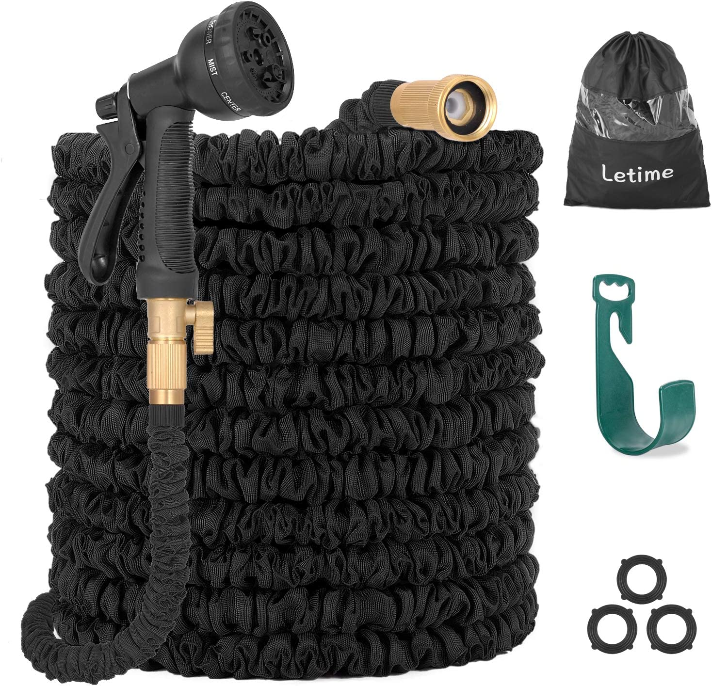 LETIME 75 ft Expandable Water Hose Set Retractable Garden Hose Flexible Hose Storage 3/4 inch Brass Valve 8 Function Hose Nozzle