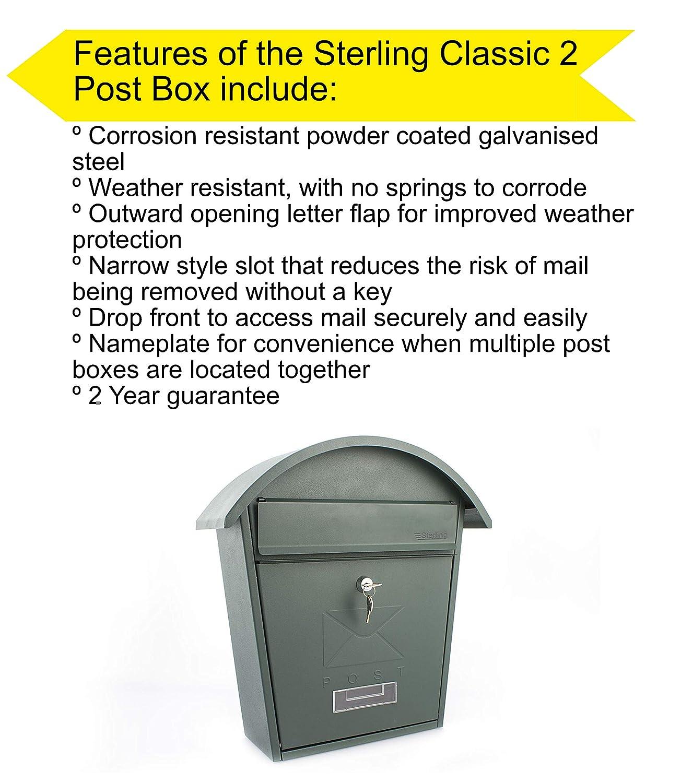 Sterling Classic 2 Wall Mounted Galvanised Steel Lockable Weatherproof Post  Box - Matt Green - 36x38x13cm