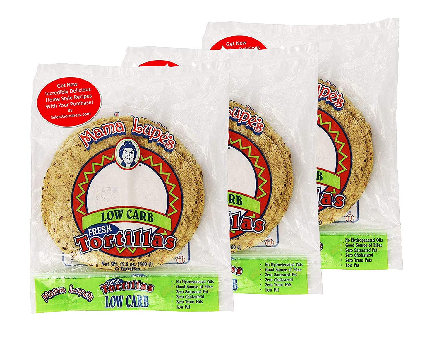 Mama Lupe Low Carb Tortillas 12.5oz Plus Get New Incredibly Delicious Home Style Recipes (Pack of 3)
