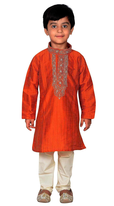 Desi Sarees Jungen Sherwani Kurta Pyjama Shalwar Kameez Outfit 876 Burnt Orange Kurta Set - 876