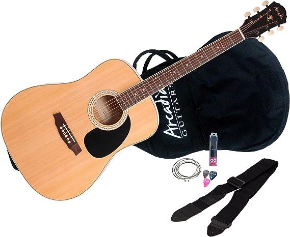 "Arcadia DL36NA Parlor Size 36"" Acoustic Guitar Pack"