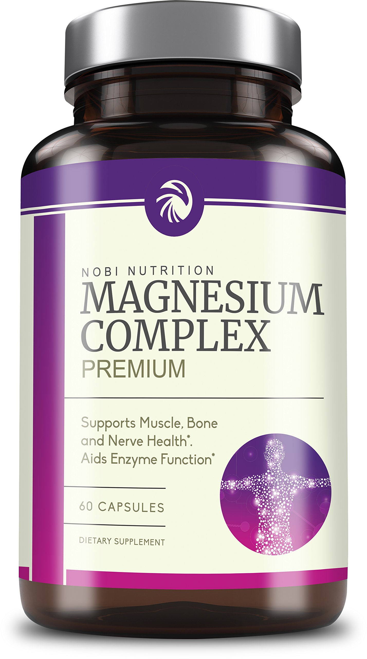 Nobi Nutrition's Pure High Absorption Magnesium Complex 500mg - Muscle Relaxation & Recovery, Vegetarian & Non-GMO, 60 Capsules