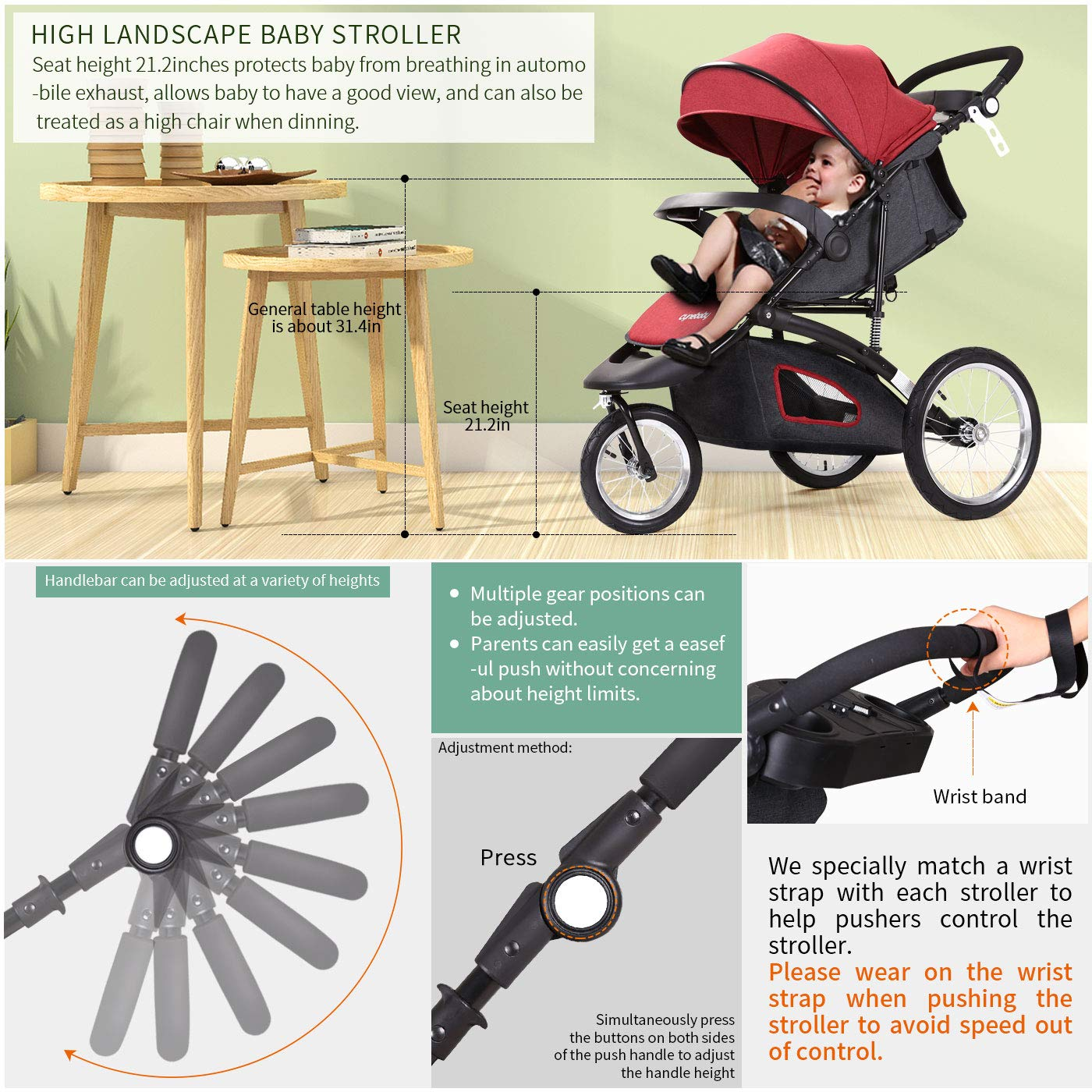 Jogging Stroller Fold City Baby Jogger Travel Citi Jog Strollers Single Toddler Baby Pram Jogging Compact Urban Ultralight Joggers Beby Carriage Pushchair Stroller Travel System by Cynebaby / HAIXIAO (Image #3)