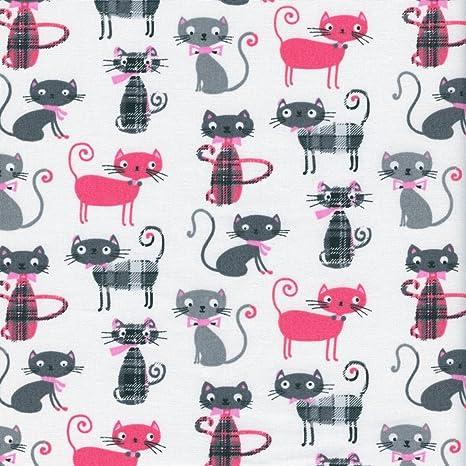 Tela de algodón estampada - Miau! tela gatos - rosa brillante, gris ardilla,