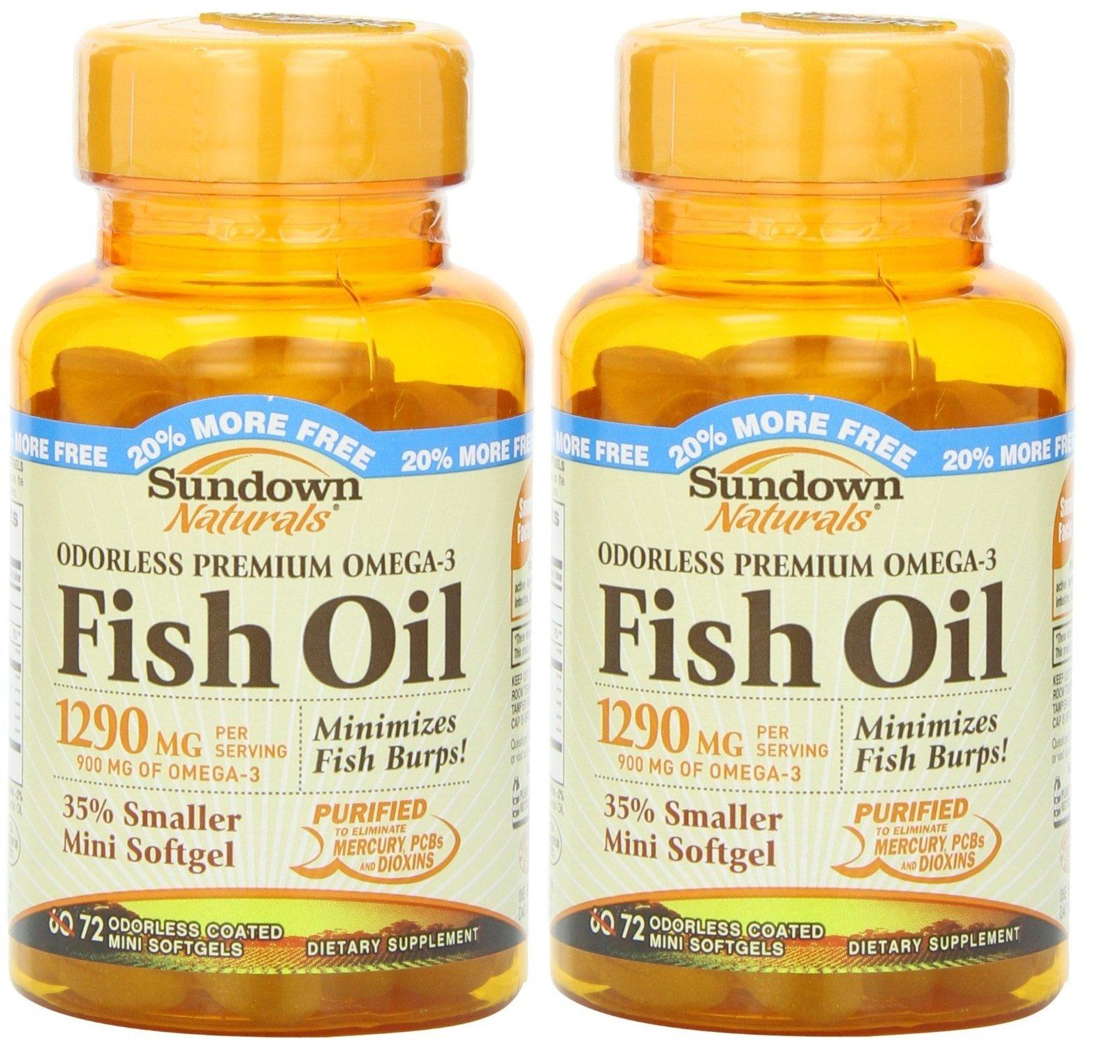 Sundown Naturals Naturals Odorless Premium Omega-3 Fish Oil, 72 Softgels (Pack of 2) Total 144