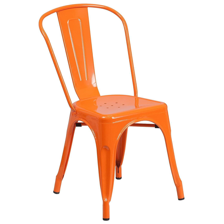 orange plastic chair. Amazon.com - Flash Furniture Orange Metal Indoor-Outdoor Stackable Chair Kitchen \u0026 Dining Room Plastic