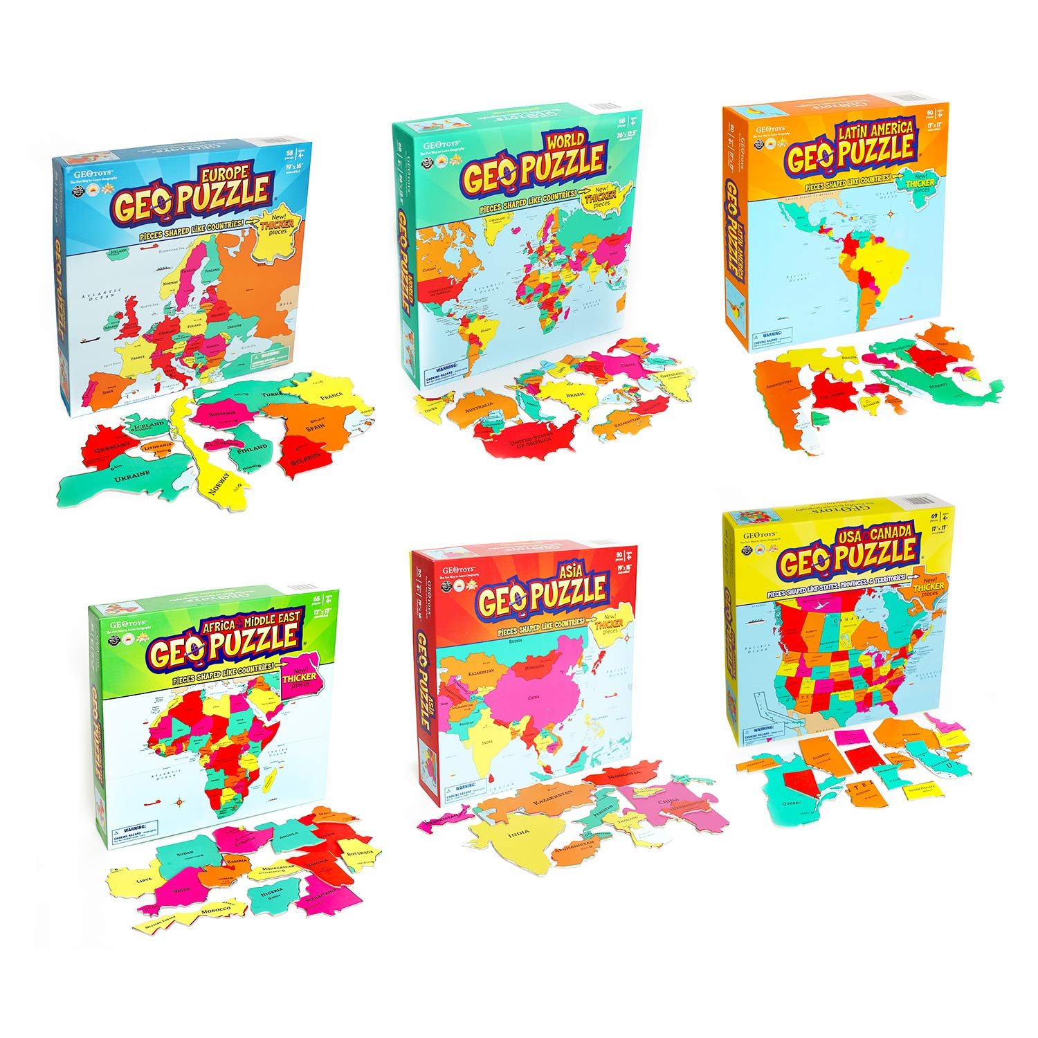 GeoToys - Set of 6 GeoPuzzles in Individual Boxes - Educational Kid Toys for Boys and Girls, 50+ Piece Geography Jigsaw Puzzles, Jumbo Size Kids Puzzles - Ages 4 and up by Geotoys