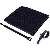 Trilancer 100 stuks herbruikbare dunne klittenband-kabelbinders met klittenbandsluiting, zwart, 20 cm, combineerbaar…