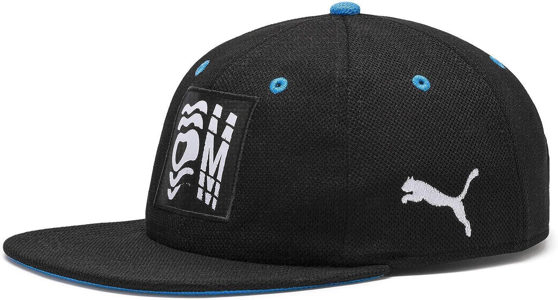 PUMA Men's OM Graphic Flatbrim Cap, Black-Bleu Azur White, One Size