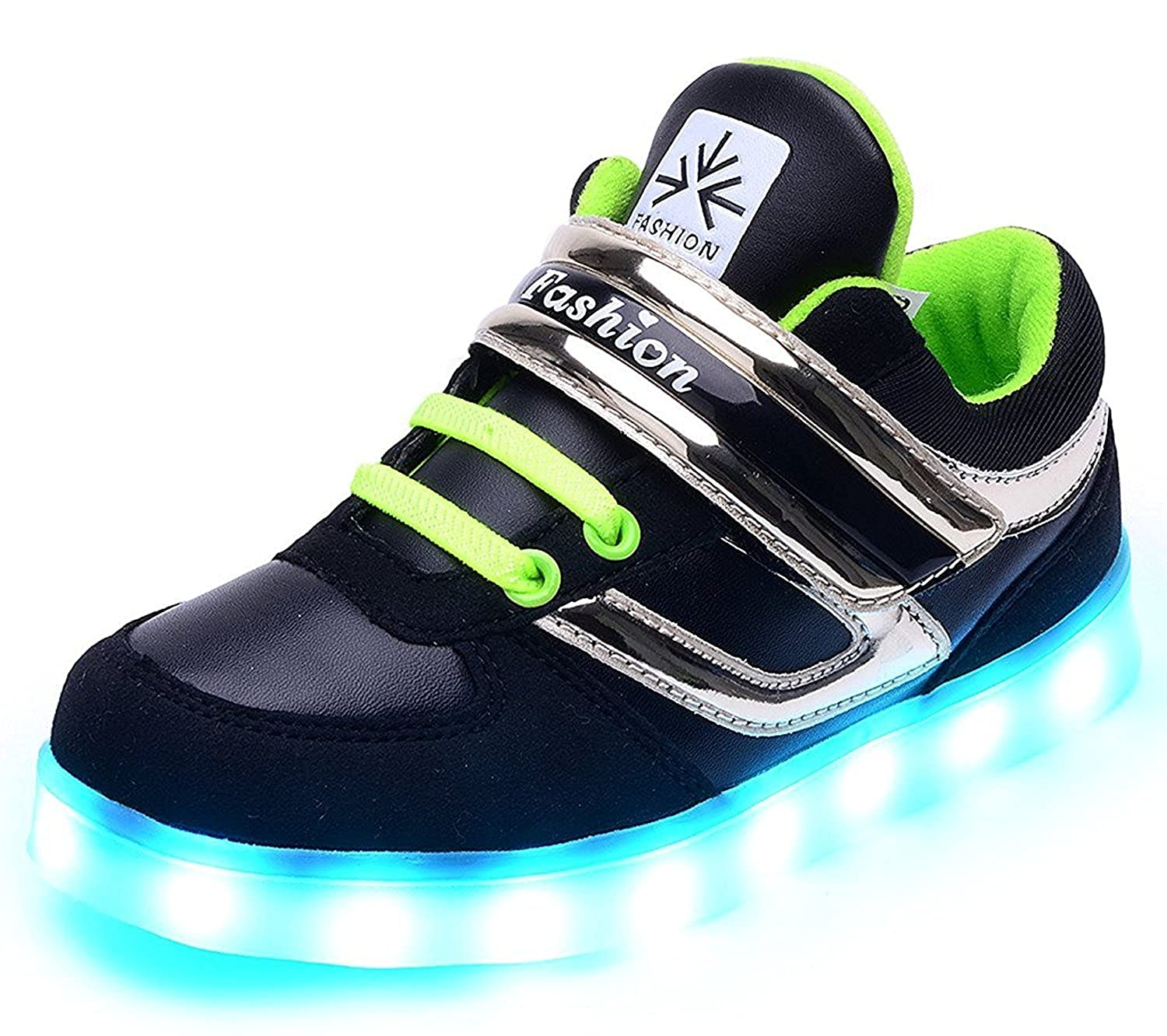 Black 27 EU//10 M US Toddler FG21ds21g Boys Girls USB Charger Led Light Children Shoes with USB Charge Luminous Sneakers
