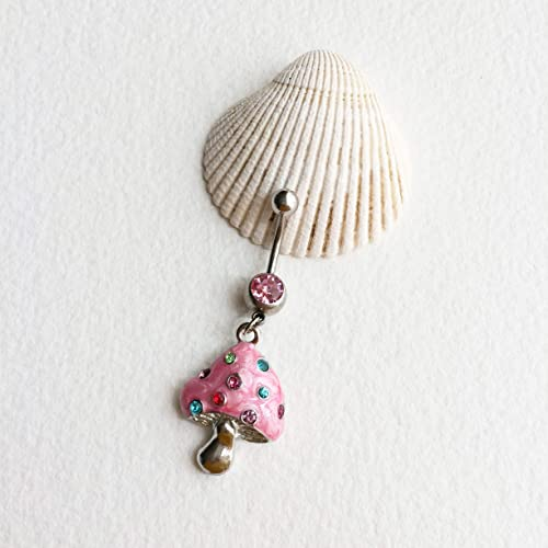 Cute belly ring,mushroom belly ring,rainbow mushroom bellybutton ring psychedelic hippie pink belly button ring LSD drugs hippy