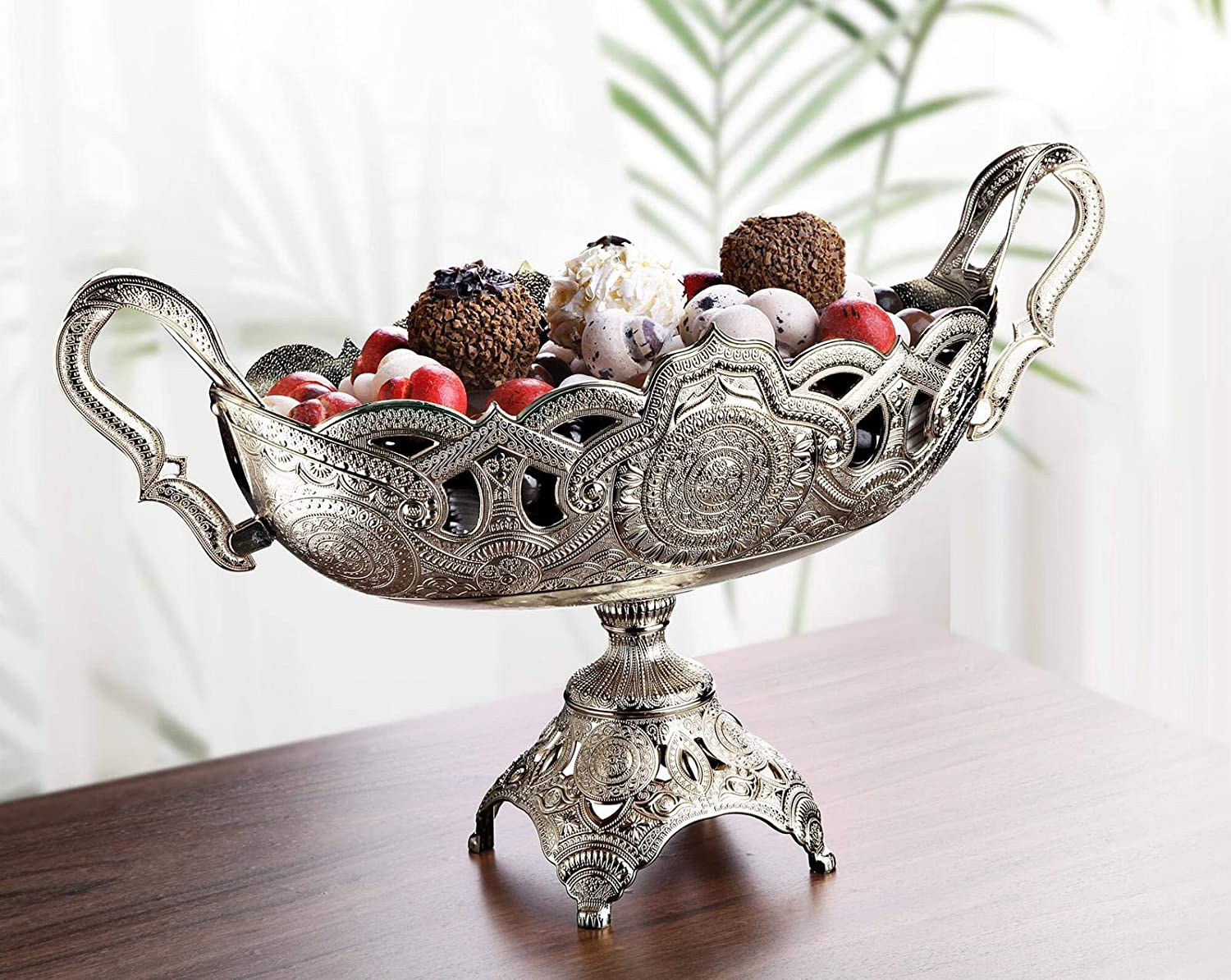 Buy Luxury Decorative Table Centerpiece Bowl For Kitchen Living Room Gold Silver Fruit Bowl Basket Centerpiece For Dining Room Table Candy Serving Bowl For Buffet Wedding Centerpieces Decor Silver 2 Online At