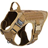 """ICEFANG Dog Modular Harness,Military K9 Working Dog Tactical Molle Vest,No Pulling Front Clip, Hook Loop Panel Dog Patch,Metal Buckle (XL (32""""-39"""" Girth), CB-2x Metal Buckle)"""