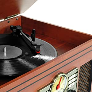 Victrola VTA-200B Nostalgic Classic 6-In-1 Turntable with Bluetooth, Mahogany
