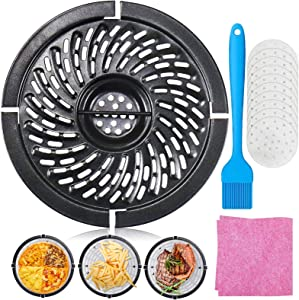 HEISENLIN Air Fryer Rack Accessories & Replacement Grill Pan 2QT, Upgraded Air Fryer Replacement Parts Grill Crisper Plate for Chefman, Ninja, GoWISH, Non Stick, Round, Home Kitchen Tool, Dishwasher