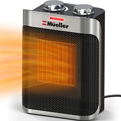 Mueller Portable Heater 750w 1500w Ceramic Space Heater High Output Fan Adjustable Thermostat With Overheat Tip Over Protection For Home Bedroom Or Office Etl Cerified Kitchen Dining