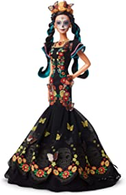 ​Barbie Collector: Dia De Muertos Doll, 11.5-Inch, Brunette, Wearing Embroidered Dress, Flower Crown & Skull Makeup with Doll