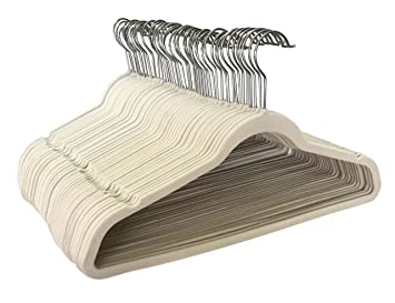 jeronic thin beige velvet clothes hangers pack of 50