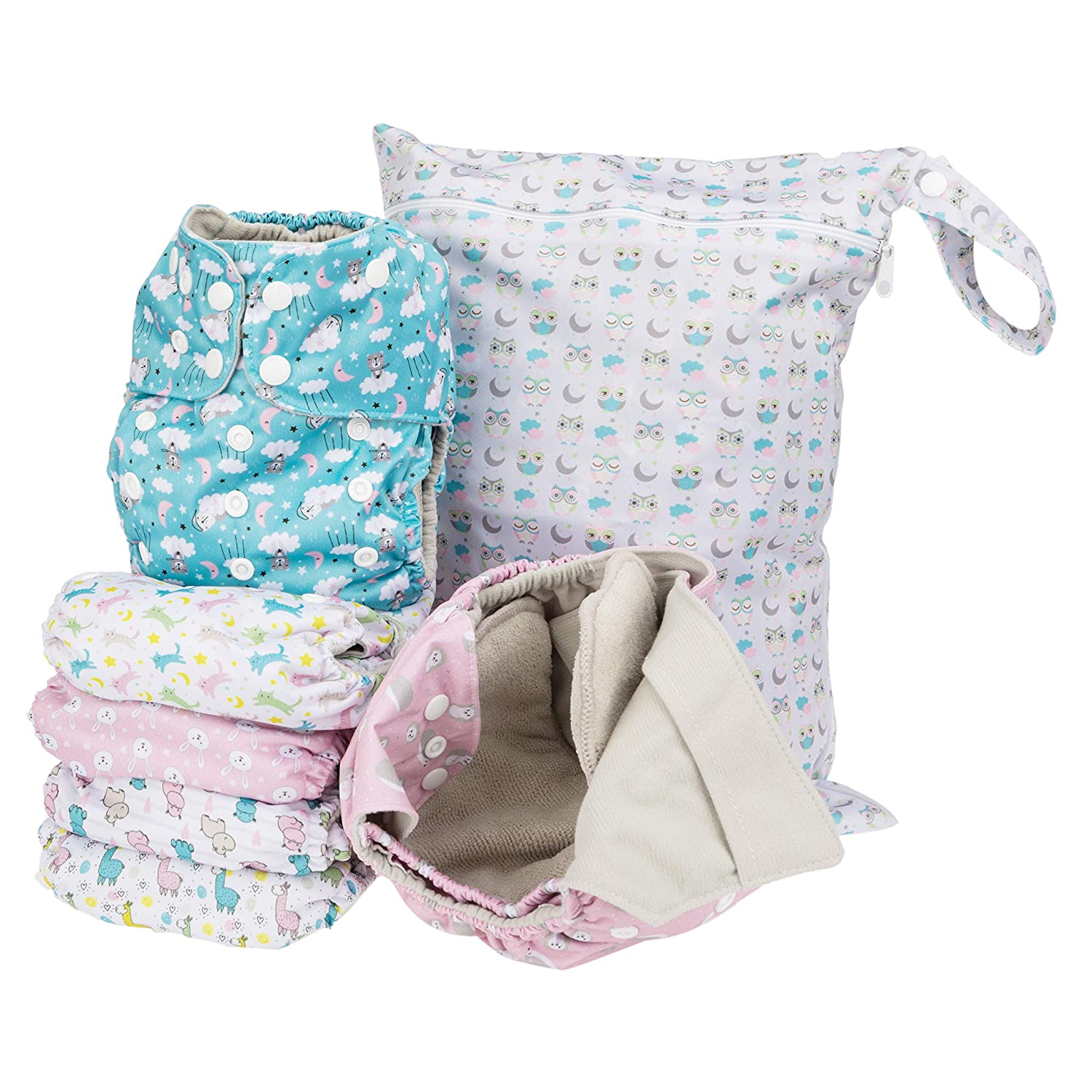Simple Being Reusable Cloth Diapers- Double Gusset-6 Pack Pocket Adjustable Size-Waterproof Cover-6 Inserts-Wet Bag (Girls Animals)