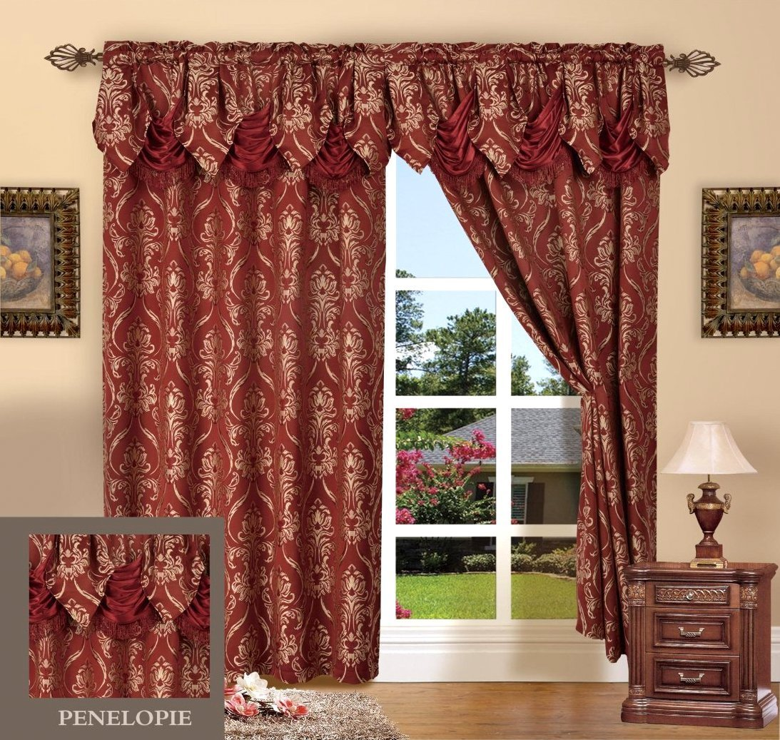 Elegant Comfort Penelopie Jacquard Look Curtain Panel Set, 54 by 84-Inch, Burgundy, Set of 2