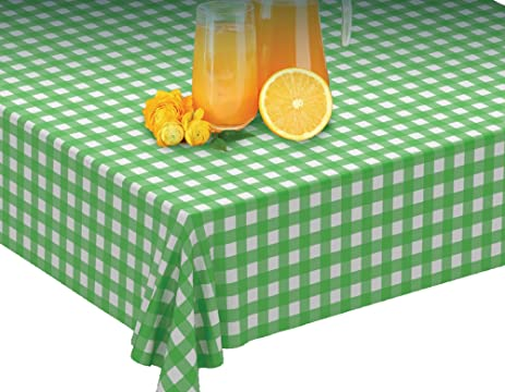 Clearly Elegant 100u0027 X 52u0026quot; Green Gingham Tablecloth Roll   Self  Cutter  Checkerboard