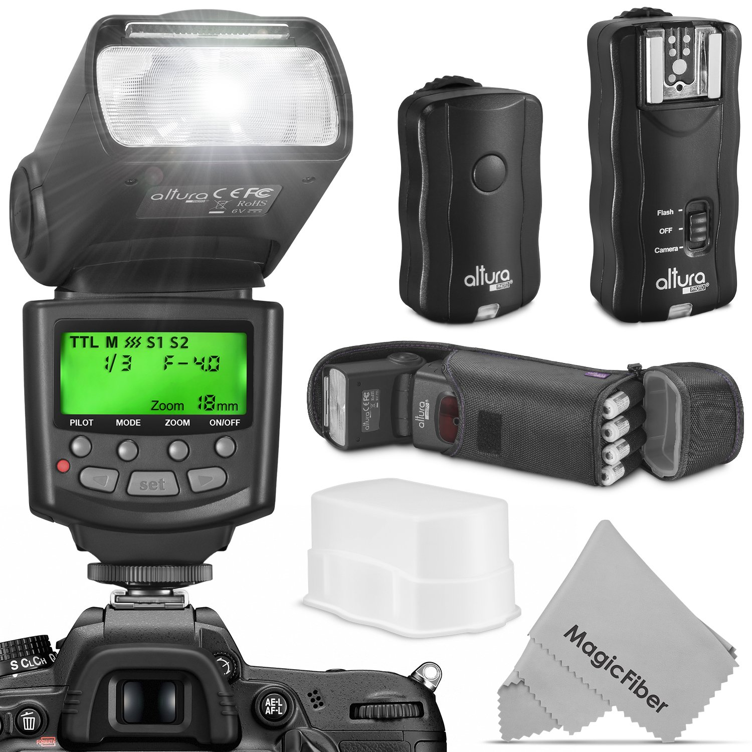 Altura Photo Professional Flash Kit for Canon DSLR with E-TTL Flash AP-C1001, Wireless Flash Trigger Set and Accessories by Altura Photo
